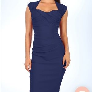 Retro inspired navy body con (but stretchy) dress